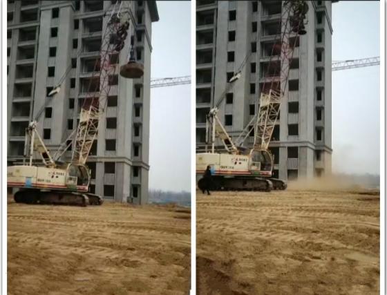 住宅小区基础回填土强夯施工现场